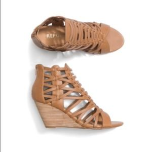 Faux Leather Caged Wedge Sandal